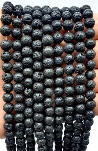 Perles de Lave 6mm sur fil 40cm