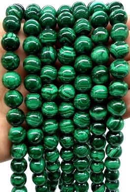 Perles 'Light Green' Malachite 10mm sur fil 40cm