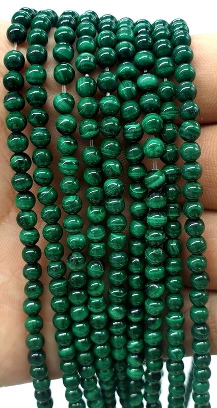 Perles 'Dark' Malachite 4mm sur fil 40cm