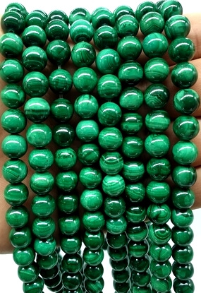 Perles 'Light Green' Malachite 8mm sur fil 40cm