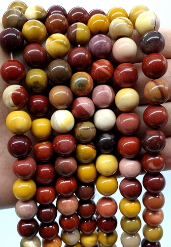 Perles Jaspe Mokaïte 10mm sur fil 40cm