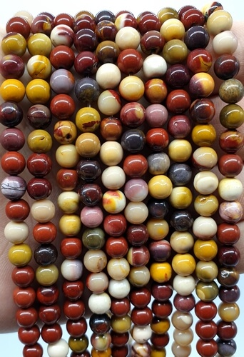 Perles Jaspe Mokaïte 6mm sur fil 40cm