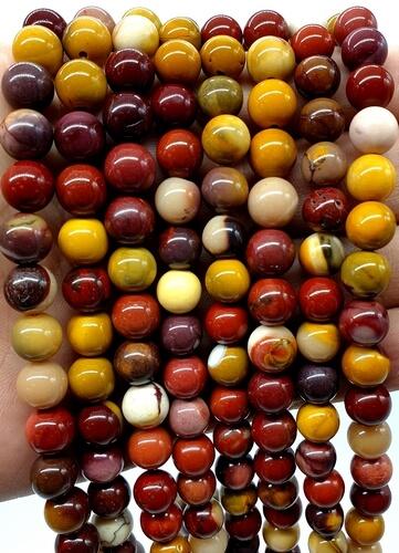 Perles Jaspe Mokaïte 8mm sur fil 40cm