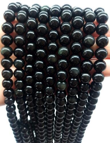 Perles Obsidienne Noire 8mm sur fil 40cm