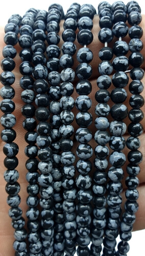 Perles Obsidienne Neige 4mm sur fil 40cm