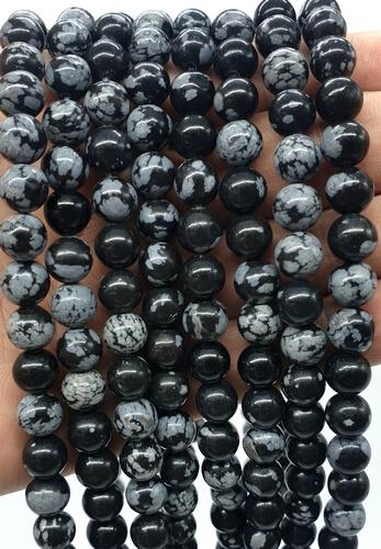 Perle di neve di ossidiana 8 mm su un filo di 40 cm