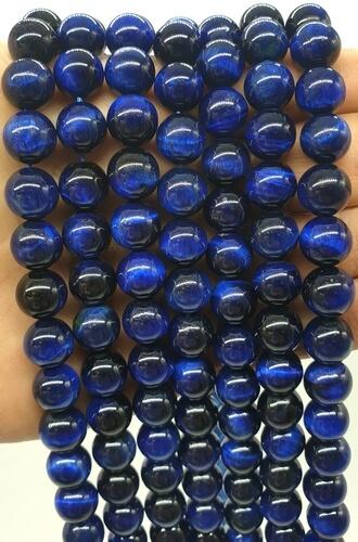 Perles Oeil de Tigre Bleu 10mm sur fil 40cm