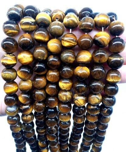 Perles Oeil de Tigre 10mm sur fil 40cm