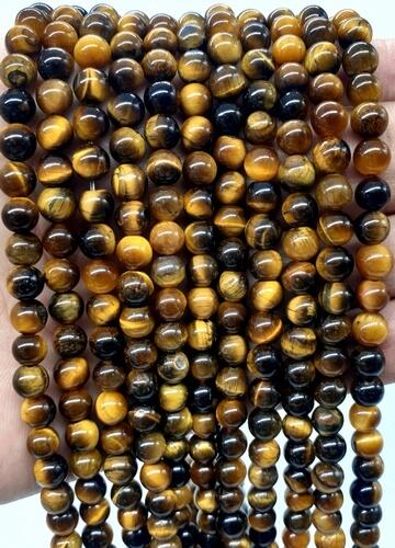 Perles Oeil de Tigre 6mm sur fil 40cm