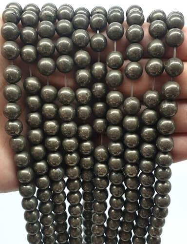 Perles Pyrite 10mm sur fil 40cm