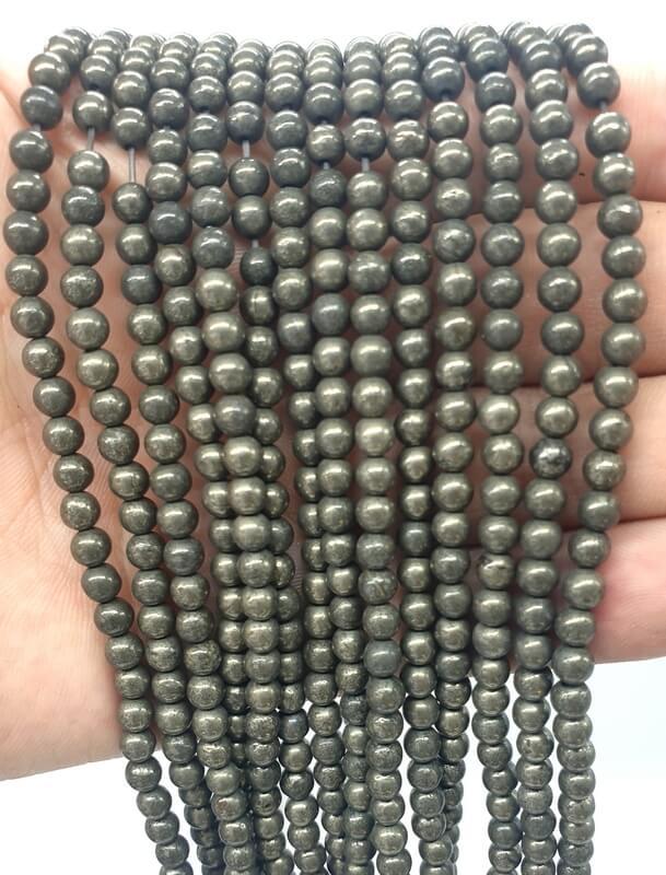 Perles Pyrite 4mm sur fil 40cm