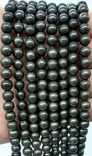 Perles Pyrite 6mm sur fil 40cm