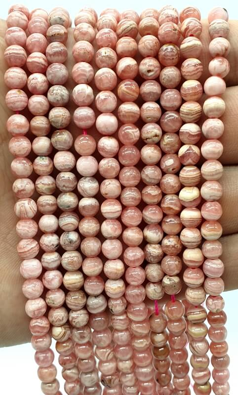 Perles Rhodocrosite 'AA' 5mm sur fil 40cm