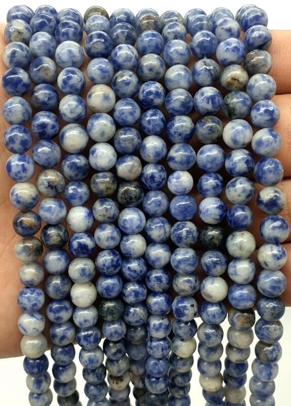Perles Sodalite 6mm sur fil 40cm