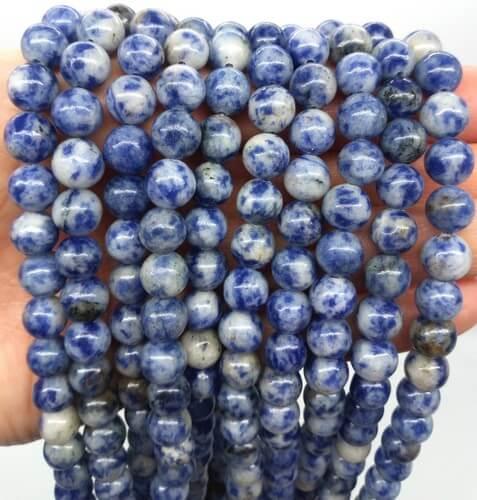 Perle di sodalite 8 mm su filo da 40 cm