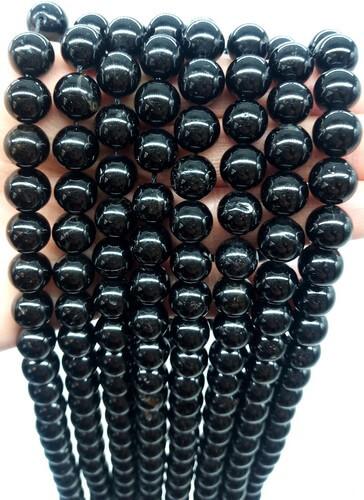 Perles Tourmaline Noire 10mm sur fil 40cm