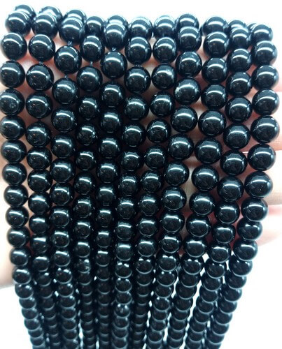 Perles Tourmaline Noire 6mm sur fil 40cm