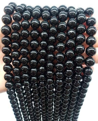 Perla nera tormalina 8mm su filo 40cm