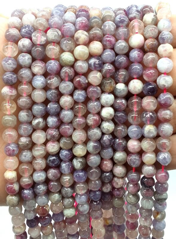 Perles Tourmaline Multicolore 6mm sur fil 40cm