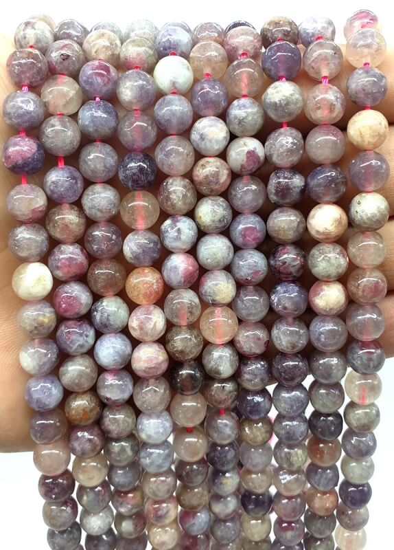 Perles Tourmaline Multicolore 8mm sur fil 40cm