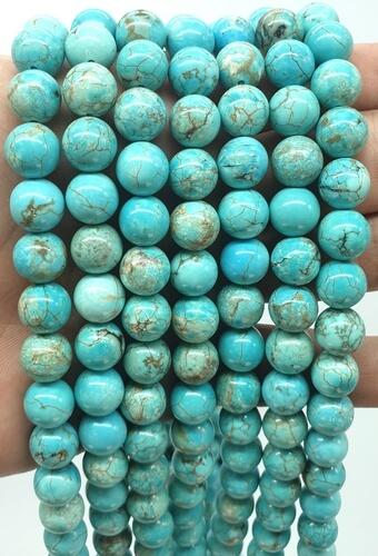 Perles Turquoise 10mm sur fil 40cm