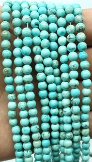Perles Turquoise 4mm sur fil 40cm