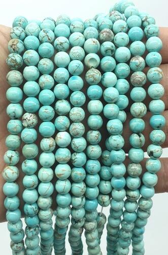 Perline turchesi 6mm su un filo di 40cm