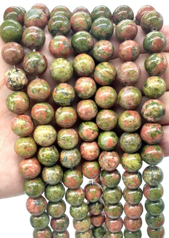 Perles Unakite 10mm sur fil 40cm