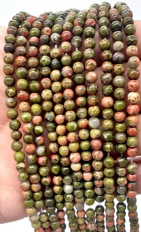 Perles Unakite 4mm sur fil 40cm