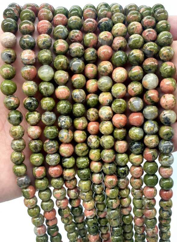 Perles Unakite 6mm sur fil 40cm
