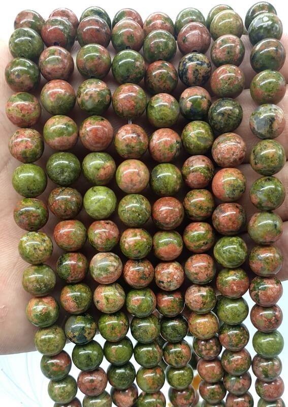Perles Unakite 8mm sur fil 40cm