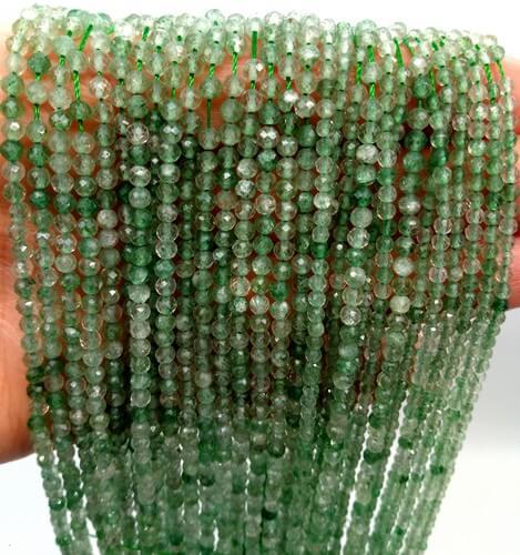 Perline di avventurina verde sfaccettata 2mm su filo 40cm