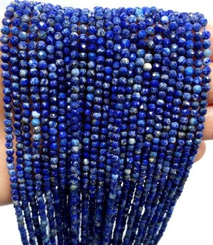 Perlas facetadas Lapislázuli 2 mm en hilo de 40 cm