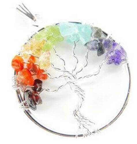 Ciondolo Tree of Life 7 Chakras in argento placcato 4 cm