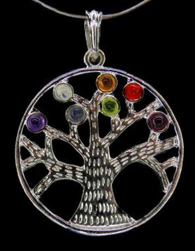 Ciondolo Tree of Life 7 Chakras in argento placcato 3,5 cm