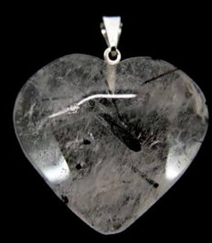 Pendentif Coeur Quartz Tourmaline 3cm