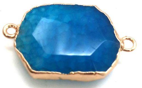 Pendentif Zinc Facetté Agate Bleue double sortie