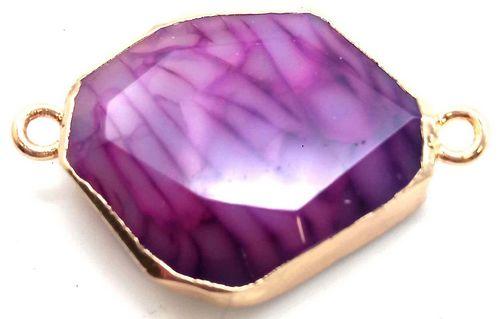 Pendentif Zinc Facetté Agate Violette double sortie