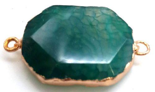 Pendentif Zinc Facetté Agate Verte double sortie