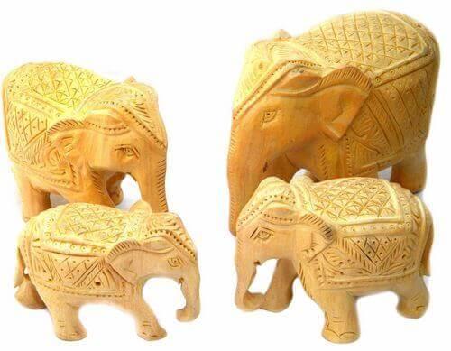 Statua in legno Set 4 elefanti