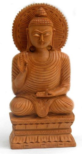 Statua in legno Buddha Salueur su base 15 cm