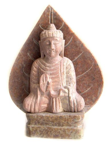 Estatua de Buda de piedra en hoja de 14 cm