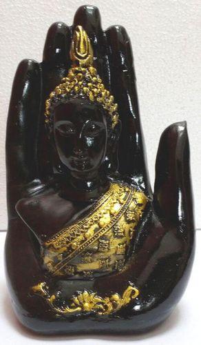 Estatua de resina Buda en mano Negro 15cm