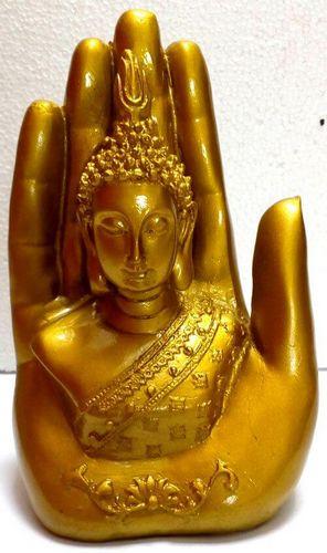 Estatua Resina Buda sobre Mano Oro 15cm