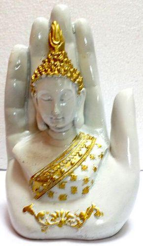 Statua in resina Buddha su mano bianca 15 cm