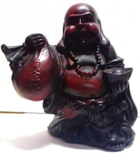 Statua in resina Buddha Rieur antica 15 cm