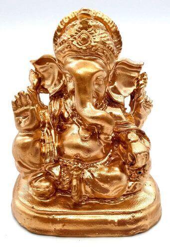 Statua in resina Ganesh oro 9 cm