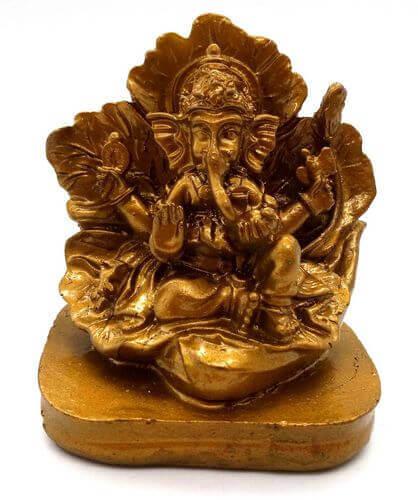 Estatua de resina Ganesh sobre pan de oro 9cm