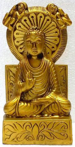 Estatua de resina Buda Salueur sobre base de oro 15cm