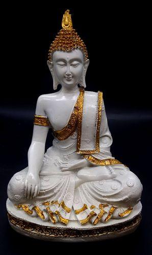 Estatua de meditación Buda en resina sobre base blanca 28cm
